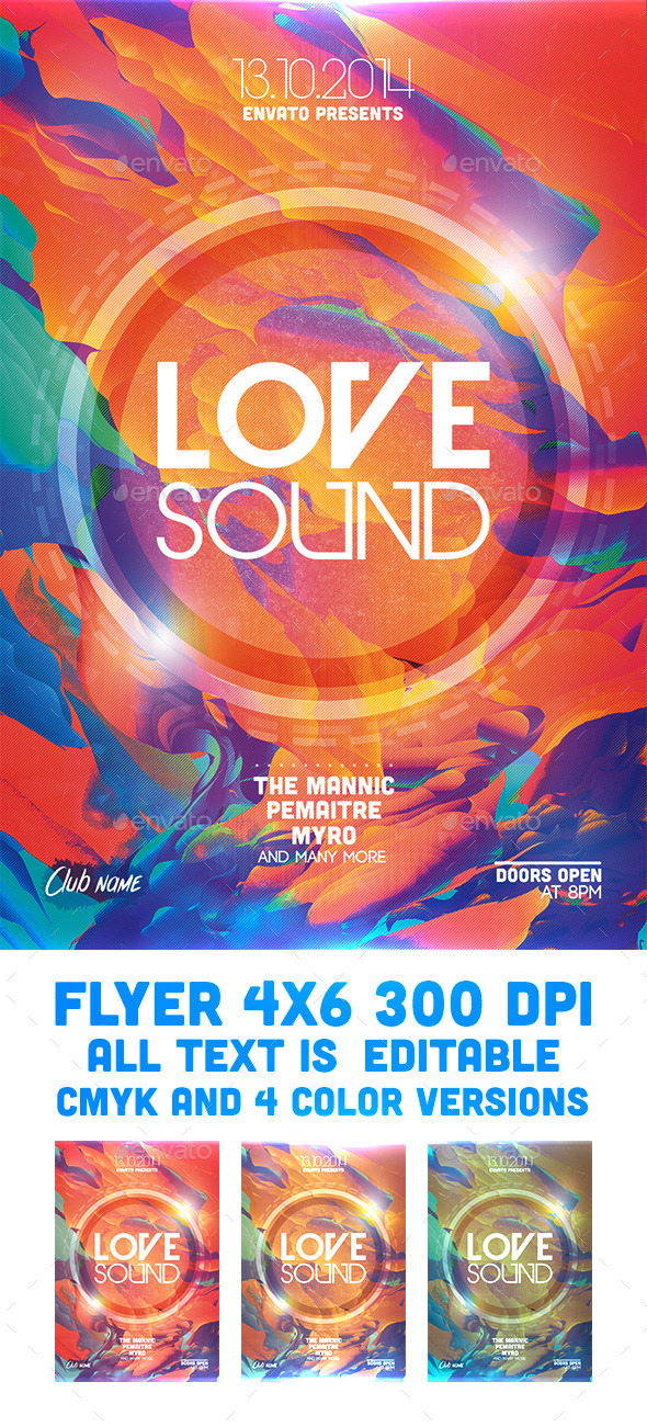 GraphicRiver Love Sound Flyer Template 9220525