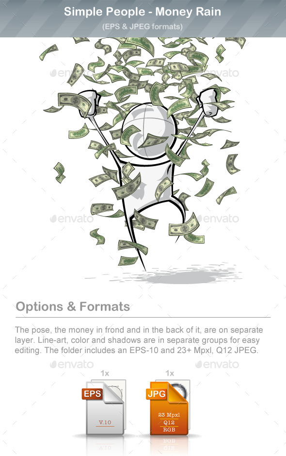 GraphicRiver Simple People Money Rain 9220683
