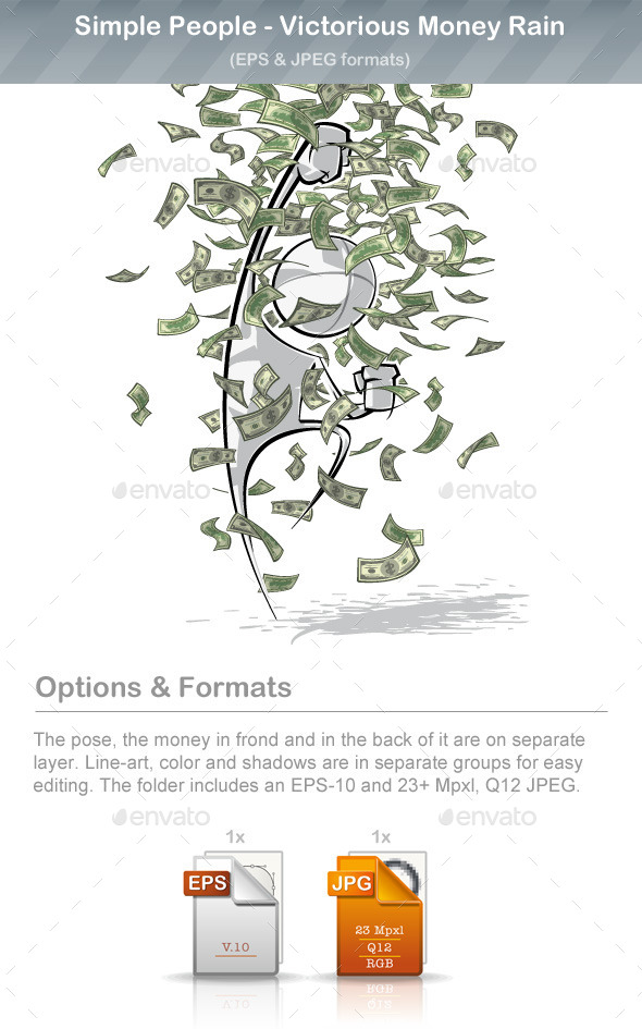 GraphicRiver Simple People Victorious Money Rain 9220815