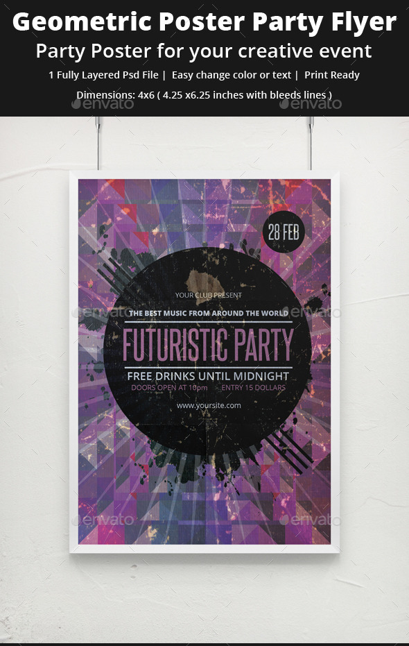GraphicRiver Geometric Grunge Party Flyer 9220963