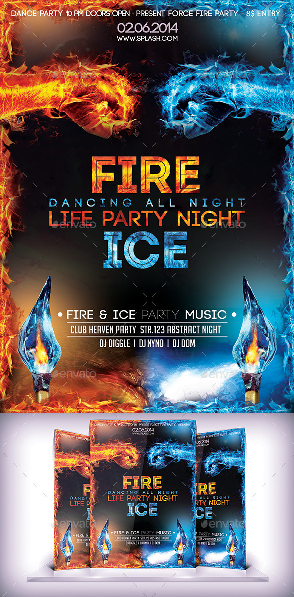 GraphicRiver Fire & Ice Party Flyer 9221177