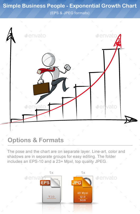 GraphicRiver Simple Business People Exponential Growth Chart 9221179