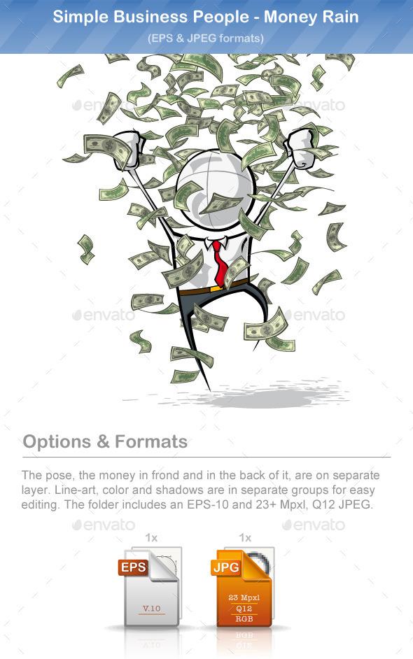 GraphicRiver Simple Business People Money Rain 9221254