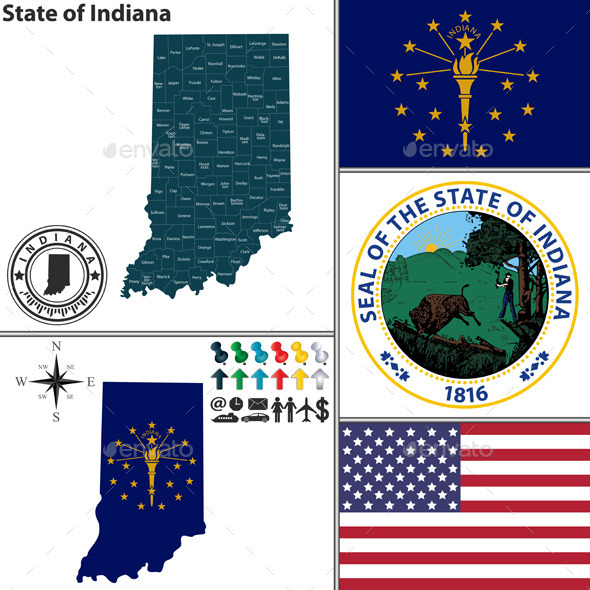 GraphicRiver Map of State Indiana USA 9221342