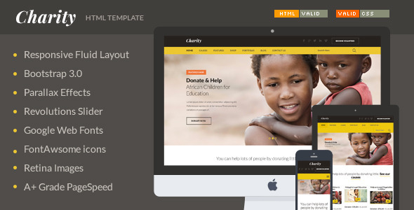 ThemeForest Charity Nonprofit NGO Fundraising HTML Template 9195328