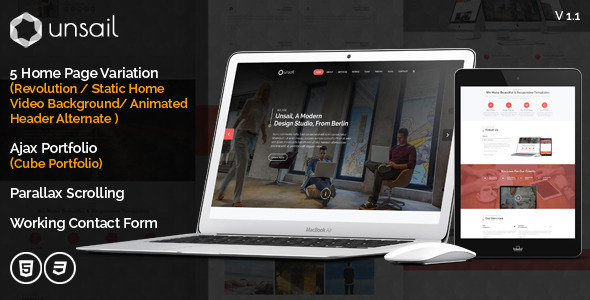 ThemeForest Unsail One Page Parallax Html Template 9100756