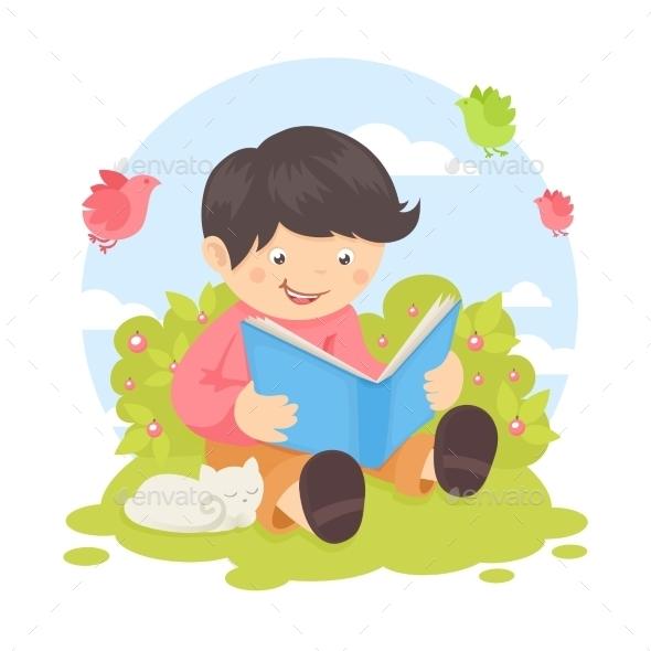 GraphicRiver Boy Reading Book 9221692