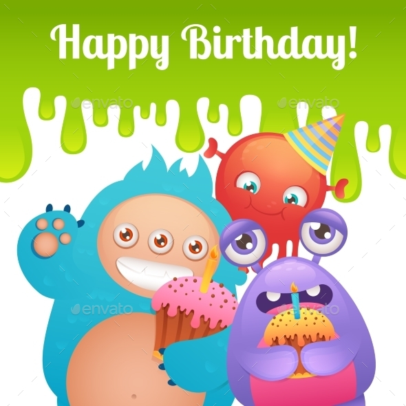 GraphicRiver Birthday Monsters Card 9221696