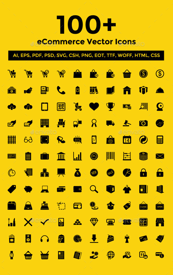 GraphicRiver 100& eCommerce Vector Icons Pack 9221703