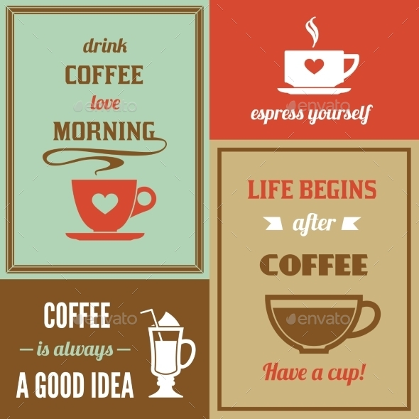 GraphicRiver Coffee Mini Poster Set 9221712