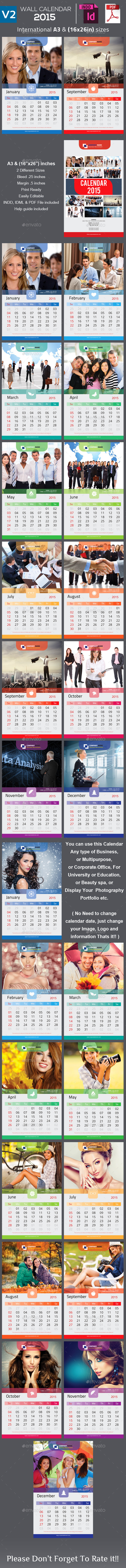 GraphicRiver Clean Wall Calendar 2015 V2 9221821
