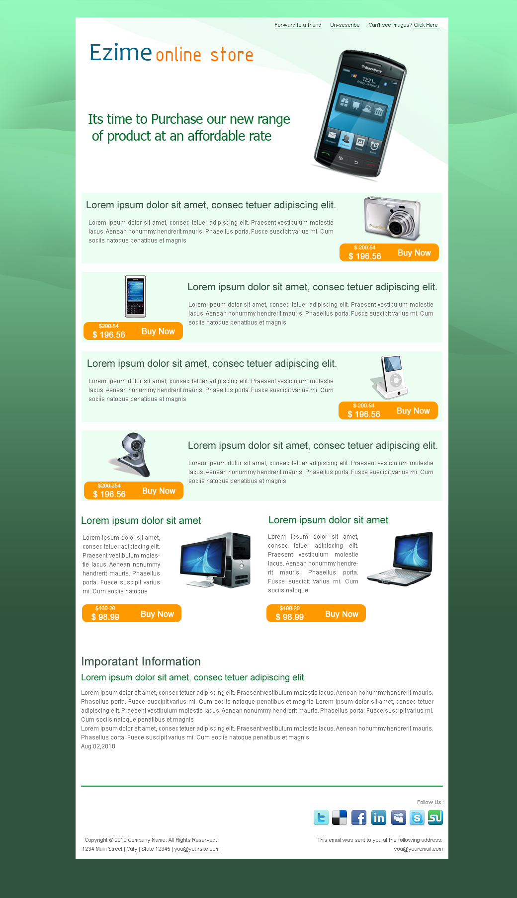 Ezime Online Store Newsletter – 5 Different Layout