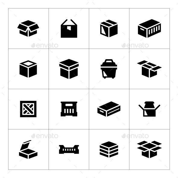 GraphicRiver Set Icons of Box 9222176