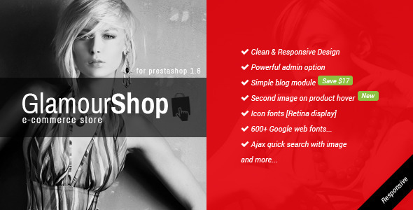 ThemeForest GlamourShop Responsive Prestashop 1.6 Theme & Blog 8597091