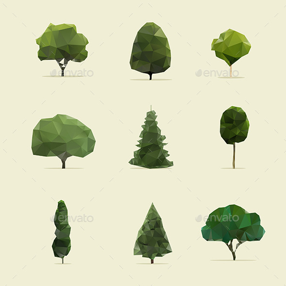 GraphicRiver Set of Geometric Trees 9222283