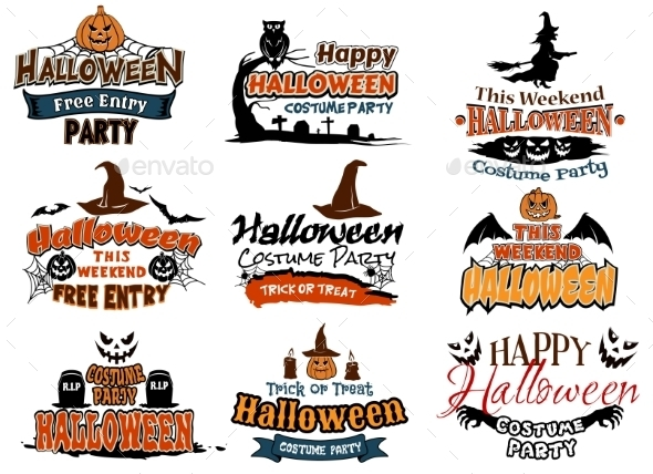 GraphicRiver Colorful Set of Happy Halloween Designs 9222588