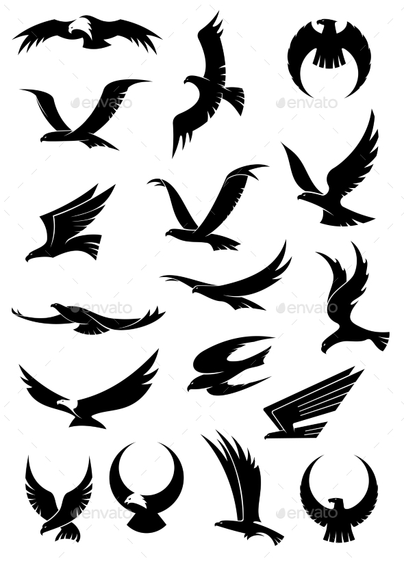 GraphicRiver Flying Eagle Falcon and Hawk Icons 9222592