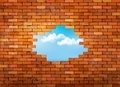 Vintage brick wall background with hole.  - PhotoDune Item for Sale