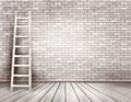 Old white brick wall background with wooden ladder - PhotoDune Item for Sale