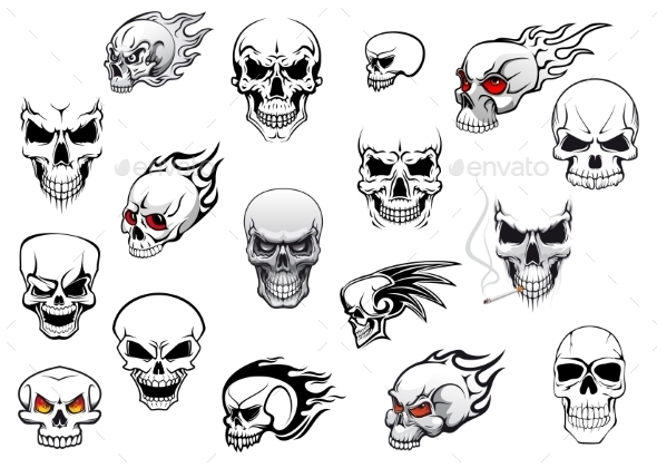 GraphicRiver Collection of Halloween and Horror Skulls 9222603