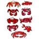 Set of Red Cartoon Marine Crabs - GraphicRiver Item for Sale