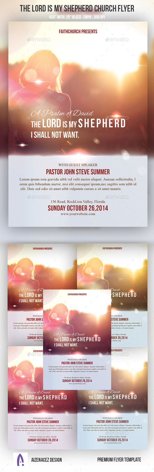 GraphicRiver The Lord Is My Shepherd Church Flyer 9222681
