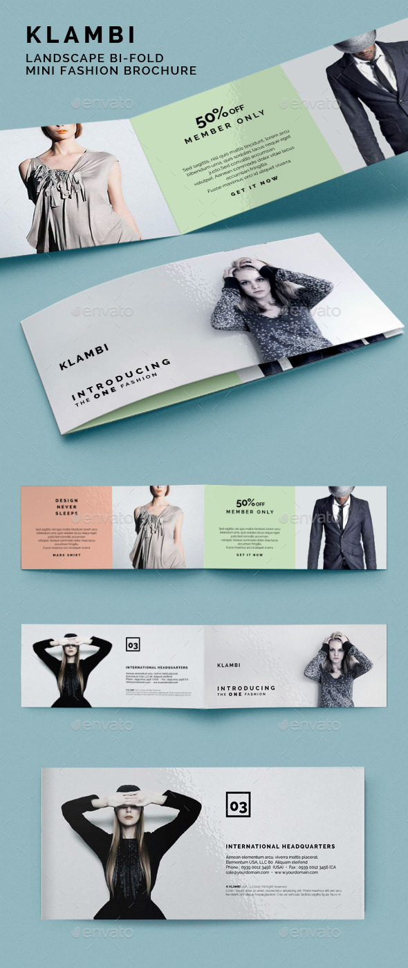 GraphicRiver Landscape Bifold Mini Fashion Brochure Klambi 9185482