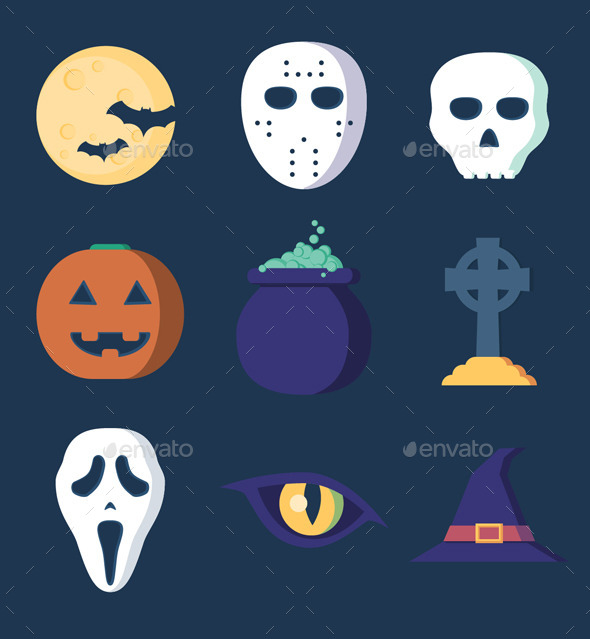 GraphicRiver Clean Flat Halloween Set 9206954