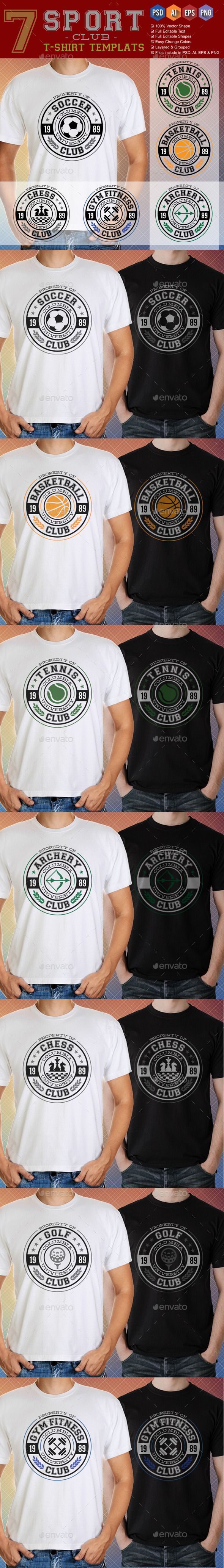 GraphicRiver 7 Sport Club T-Shirt Templates 9223251