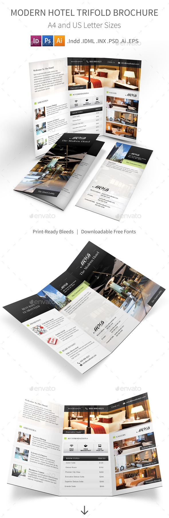 GraphicRiver Modern Hotel Trifold Brochure 9223572