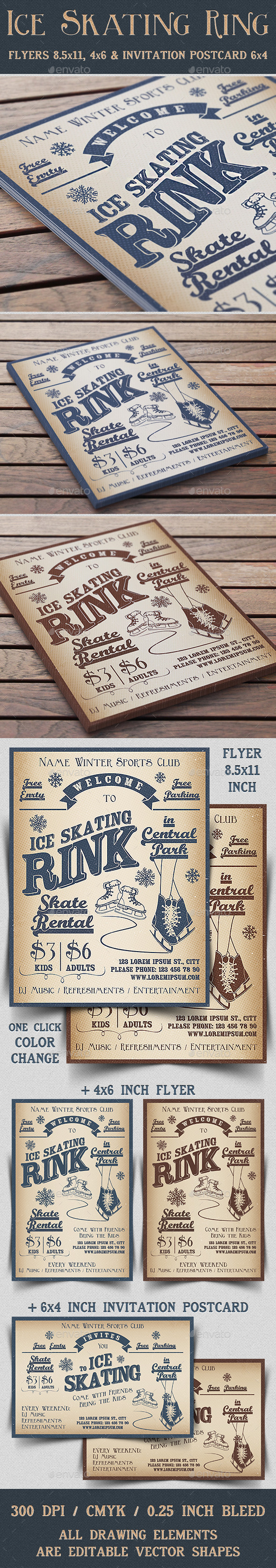 GraphicRiver Ice Skating Rink Flyer & Invitation 9223738
