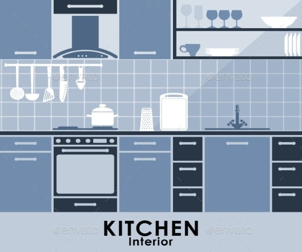 GraphicRiver Blue Kitchen Interior in Flat Style 9223907