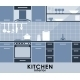 Blue Kitchen Interior in Flat Style - GraphicRiver Item for Sale