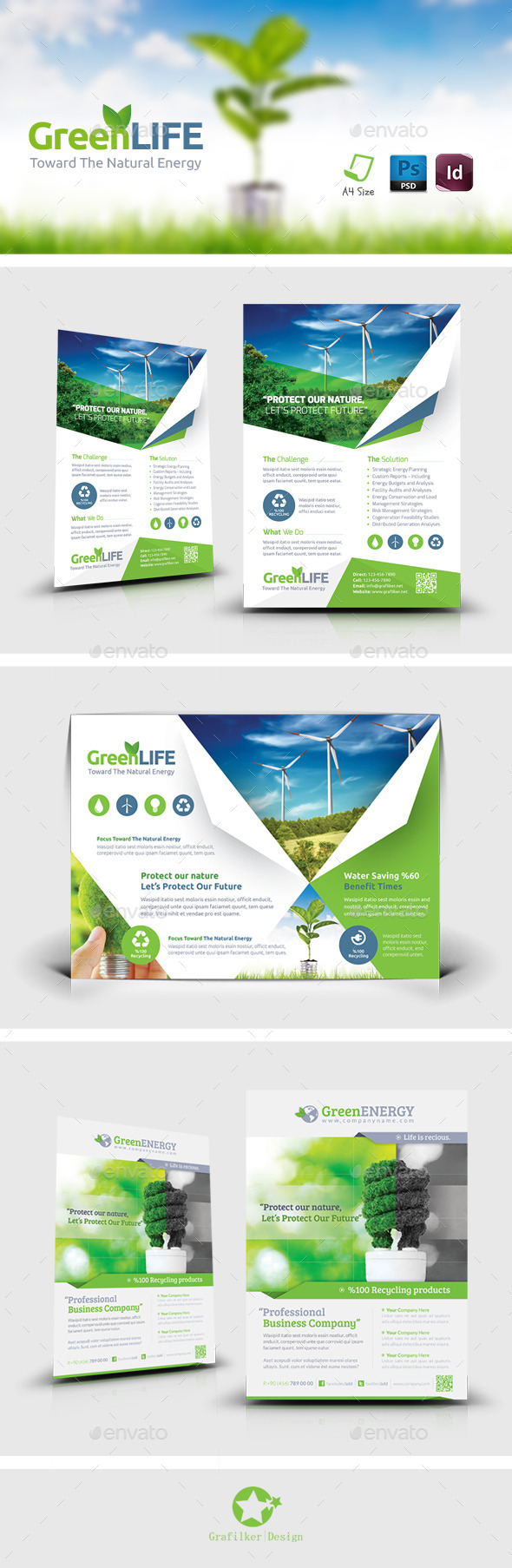 GraphicRiver Green Energy Flyer Bundle Templates 9223928