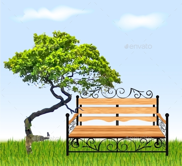GraphicRiver Bench with Tree and Grass 9223929