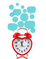 Red heart alarm clock with blank talk bubbles templates - PhotoDune Item for Sale
