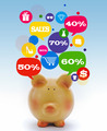 Piggy bank with sale icons in talk bubbles - PhotoDune Item for Sale