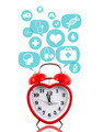 Heart alarm clock with medical icons in talk bubbles isolated - PhotoDune Item for Sale
