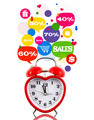 Heart alarm clock with sale icons in talk bubbles isolated - PhotoDune Item for Sale