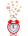 Heart alarm clock with sale icons isolated - PhotoDune Item for Sale