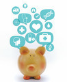 Piggy bank with medical icons in talk bubbles isolated - PhotoDune Item for Sale