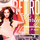 Retro Party Flyer plus FB Cover - GraphicRiver Item for Sale