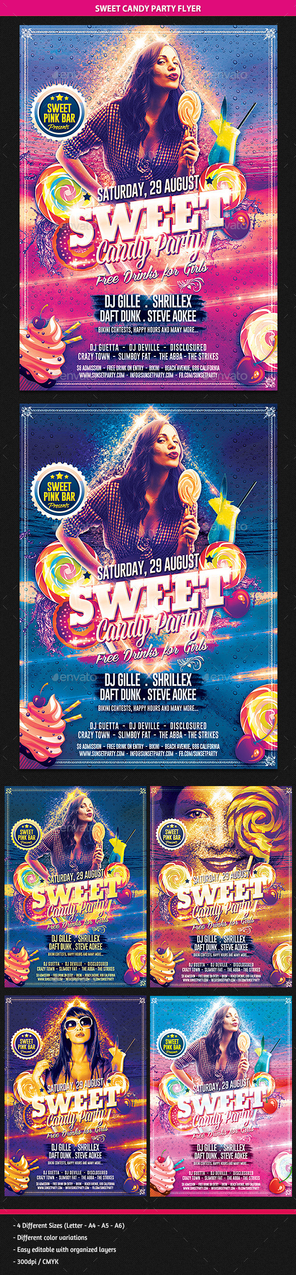 GraphicRiver Sweet Candy Party Flyer 9224080