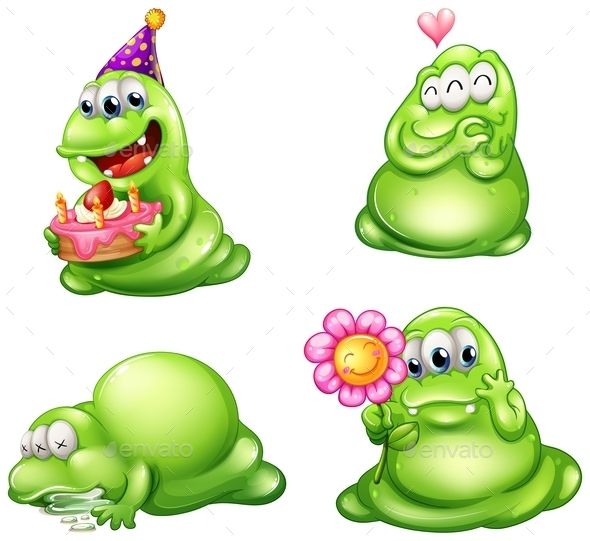 GraphicRiver Four Green Monsters with Different Activities 9224464