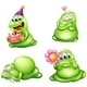 Four Green Monsters with Different Activities - GraphicRiver Item for Sale