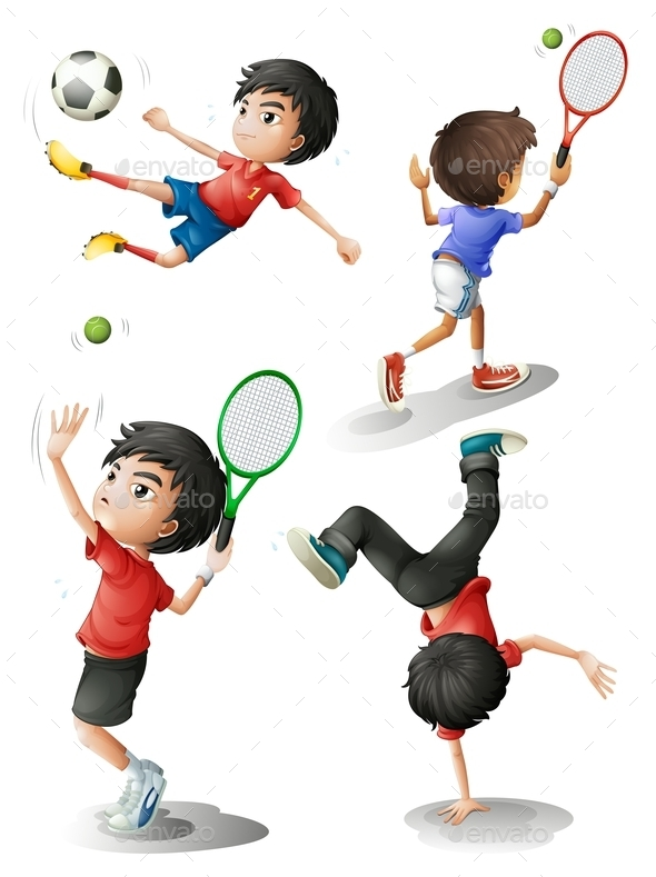 GraphicRiver Four Boys Playing Different Sports 9224477