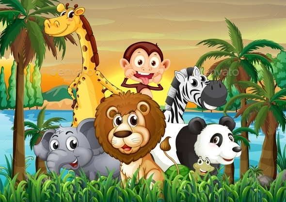 GraphicRiver A Group of Animals at the Riverbank with Coconut 9224522
