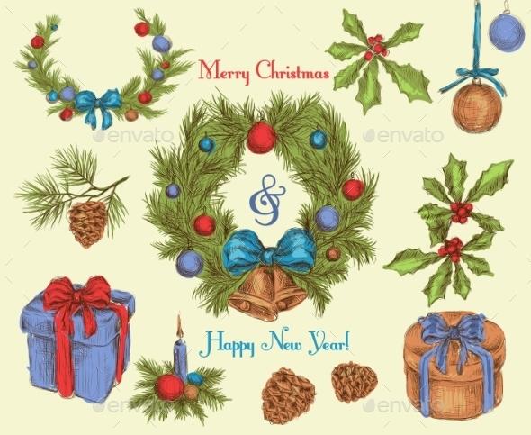 GraphicRiver Christmas decoration sketch colored 9224701