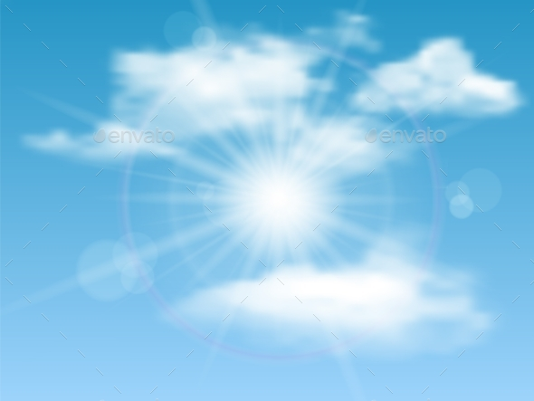 GraphicRiver Sky Sun Clouds Background 9224702