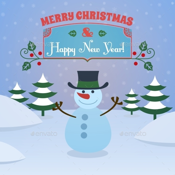 GraphicRiver Christmas snowman background 9224752